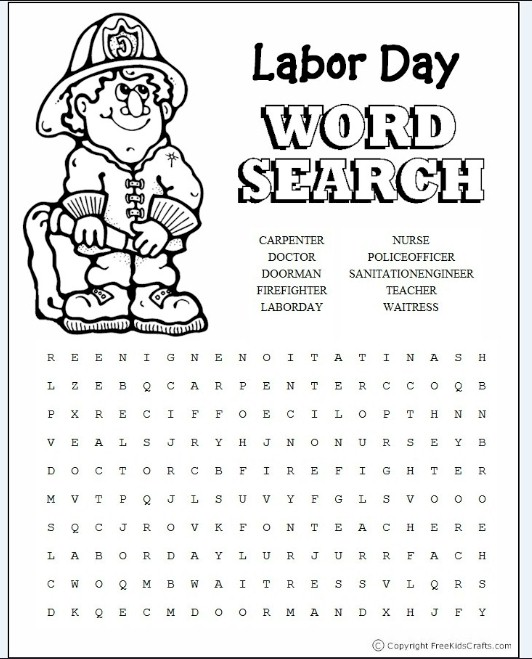 It is a picture of Crazy Labor Day Word Search Printable