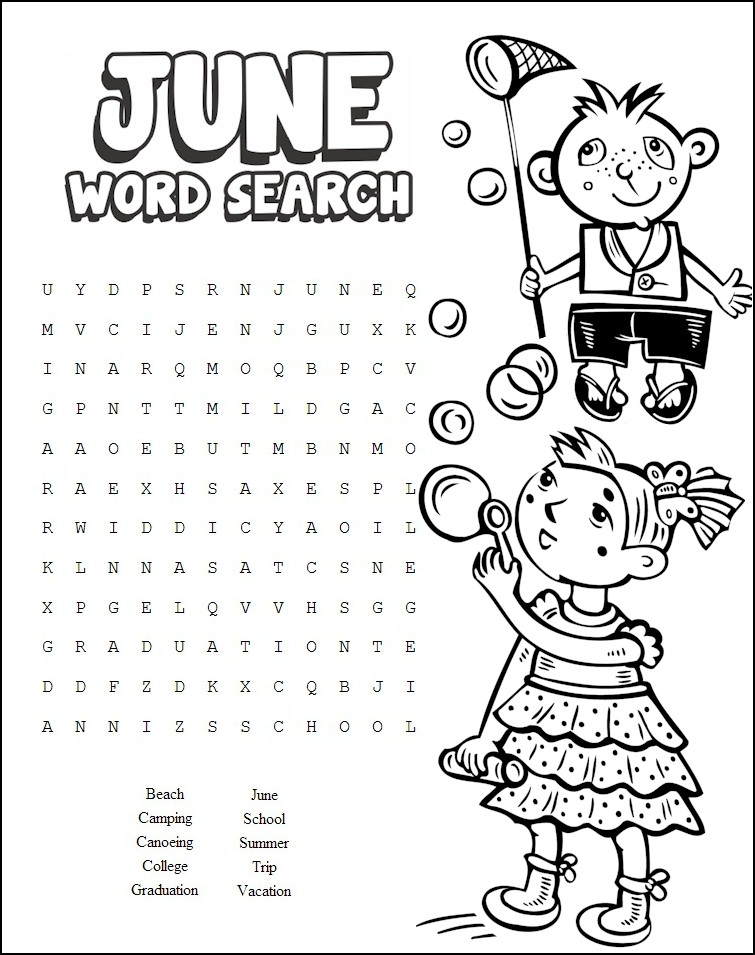 Word Search Worksheets : June word search