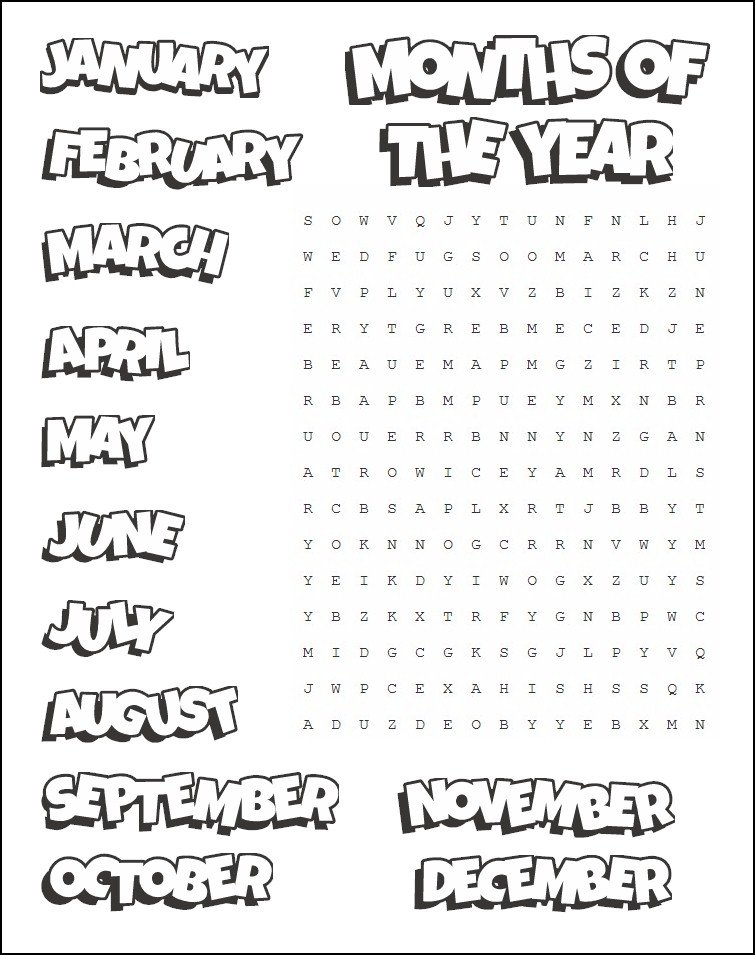 image regarding Free Printable Word Search for Kids identified as Printable Weeks Term Appear