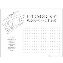 Election day word search for Free election day coloring pages