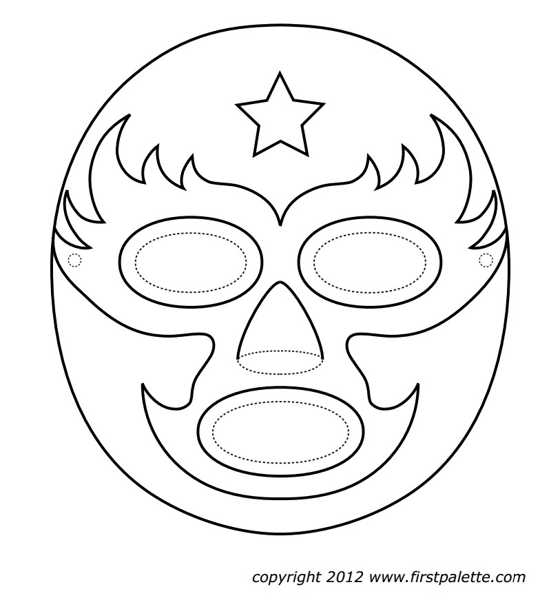 With Wrestlers Masks Colouring Pages